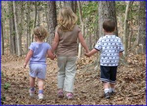 Children Walking on Trail