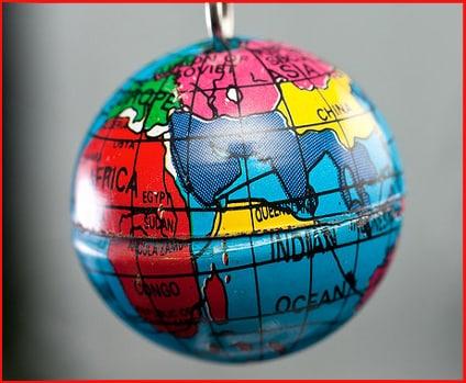 Macro of tiny Earth globe