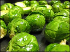 Brussels sprouts before roasting