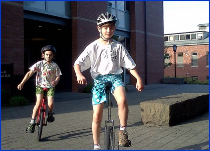 Unicycling at Lewis & Clark