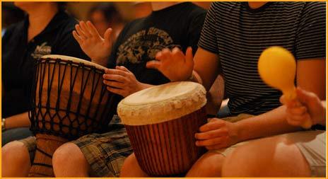 student drum circle