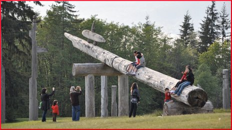 Kids Playing on the Totems