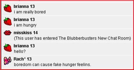chat room exchange about boredom and fake hunger
