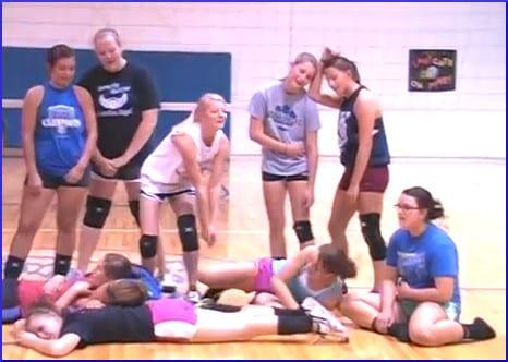 Tired teen girls in gym class