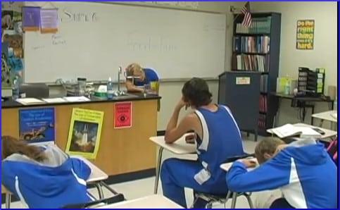 school kids sleeping in class