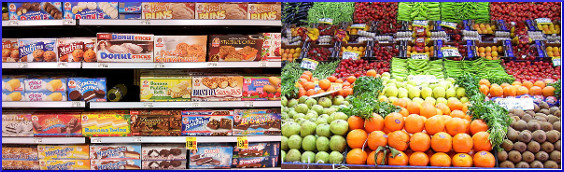 [pre-packaged junk foods in left photo, fresh produce in right photo]