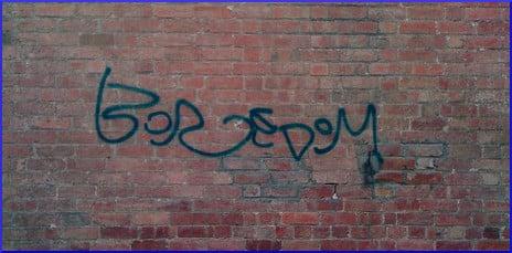 [graffiti that reads 'boredom']