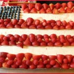 [cake decorated as American flag]