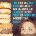 [several layers of donuts with quote, 'Food is the most abused anti-anxiety drug in America, and exercise is the most potent yet underutilized antidepressant ' --Bill Philips]