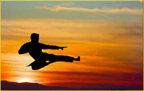 karate kick at sunrise