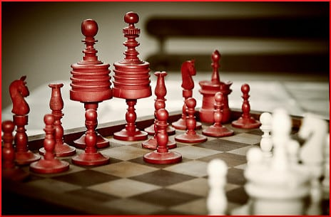 red-and-white-chess-pieces