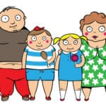 22313930 - cartoon vector illustration of fat overweight family, children with parents