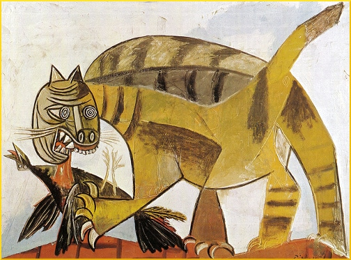 cat-devouring-a-bird-painting
